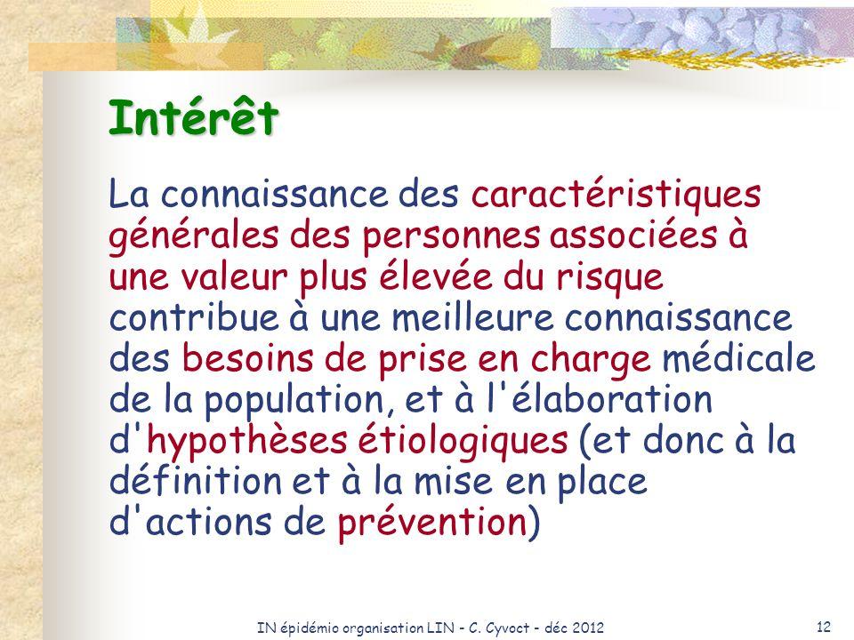 IN épidémio organisation LIN - C. Cyvoct - déc 2012 12 Intérêt La connaissance des caractéristiques générales des personnes associées à une valeur plu