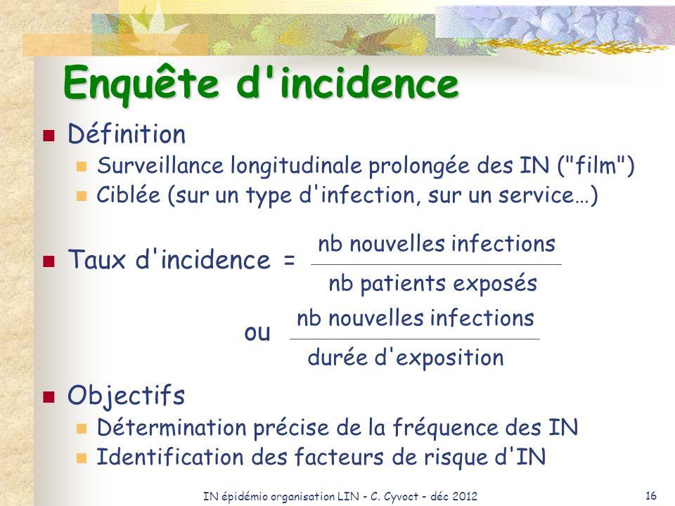 IN épidémio organisation LIN - C. Cyvoct - déc 2012 16 Enquête d'incidence Définition Surveillance longitudinale prolongée des IN (