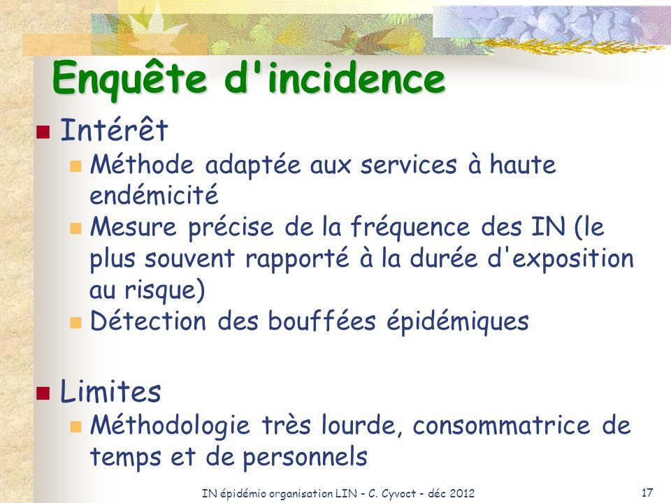 IN épidémio organisation LIN - C. Cyvoct - déc 2012 17 Enquête d'incidence Intérêt Méthode adaptée aux services à haute endémicité Mesure précise de l