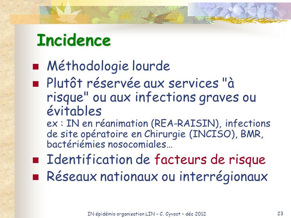 IN épidémio organisation LIN - C. Cyvoct - déc 2012 23 Incidence Méthodologie lourde Plutôt réservée aux services