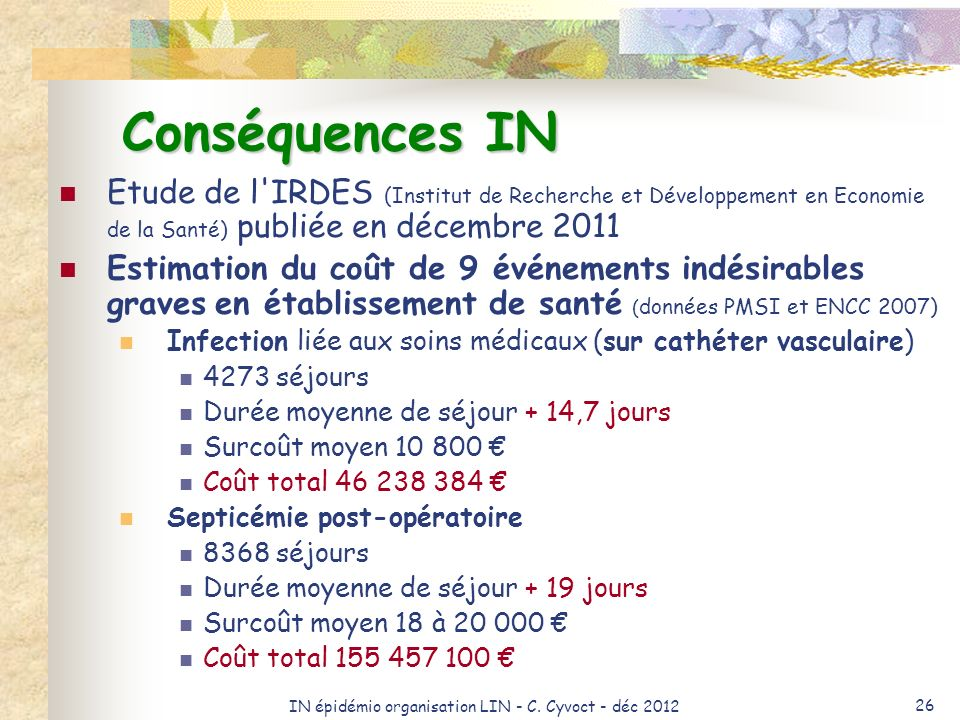IN épidémio organisation LIN - C. Cyvoct - déc 2012 26 Conséquences IN Etude de l'IRDES (Institut de Recherche et Développement en Economie de la Sant