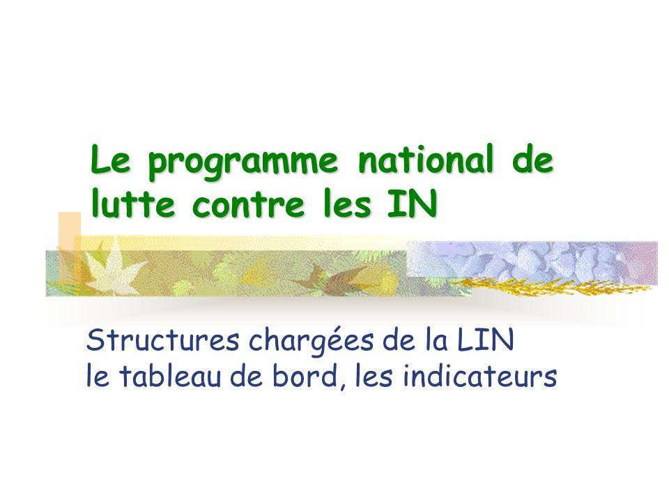 Le programme national de lutte contre les IN Structures chargées de la LIN le tableau de bord, les indicateurs