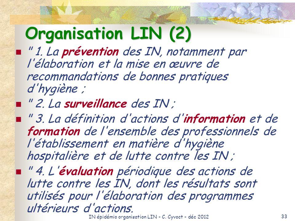 IN épidémio organisation LIN - C. Cyvoct - déc 2012 33 Organisation LIN (2)
