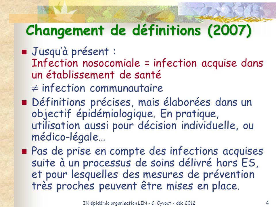 IN épidémio organisation LIN - C. Cyvoct - déc 2012 4 Changement de définitions (2007) Jusquà présent : Infection nosocomiale = infection acquise dans