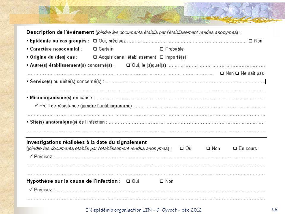 IN épidémio organisation LIN - C. Cyvoct - déc 2012 56
