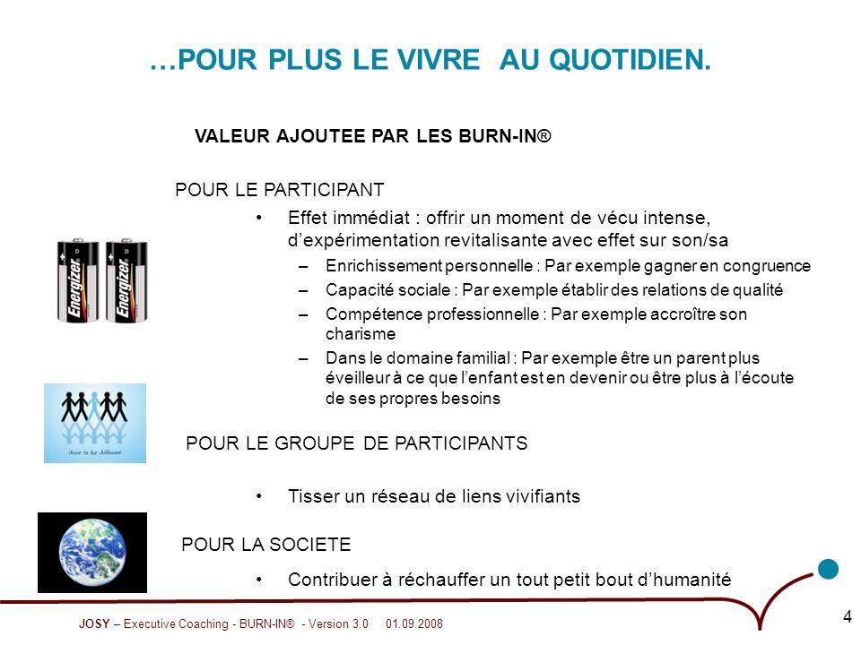 JOSY – Executive Coaching - BURN-IN® - Version 3.0 01.09.2008 5 OSONS JOUER AVEC NOTRE FEU .