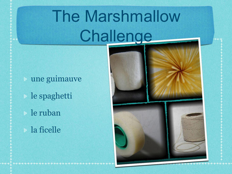 The Marshmallow Challenge une guimauve le spaghetti le ruban la ficelle