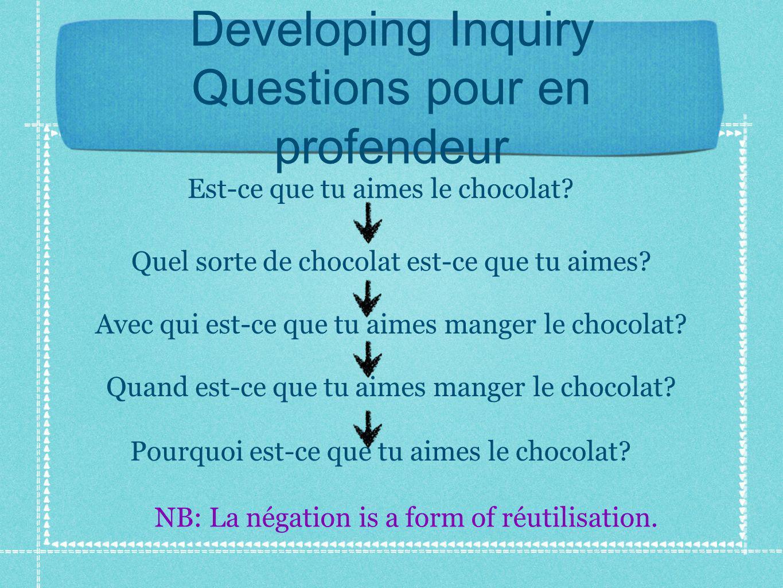 Developing Inquiry Questions pour en profendeur Est-ce que tu aimes le chocolat.