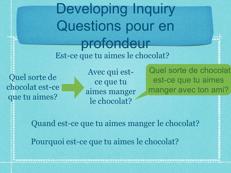 Developing Inquiry Questions pour en profondeur Est-ce que tu aimes le chocolat.