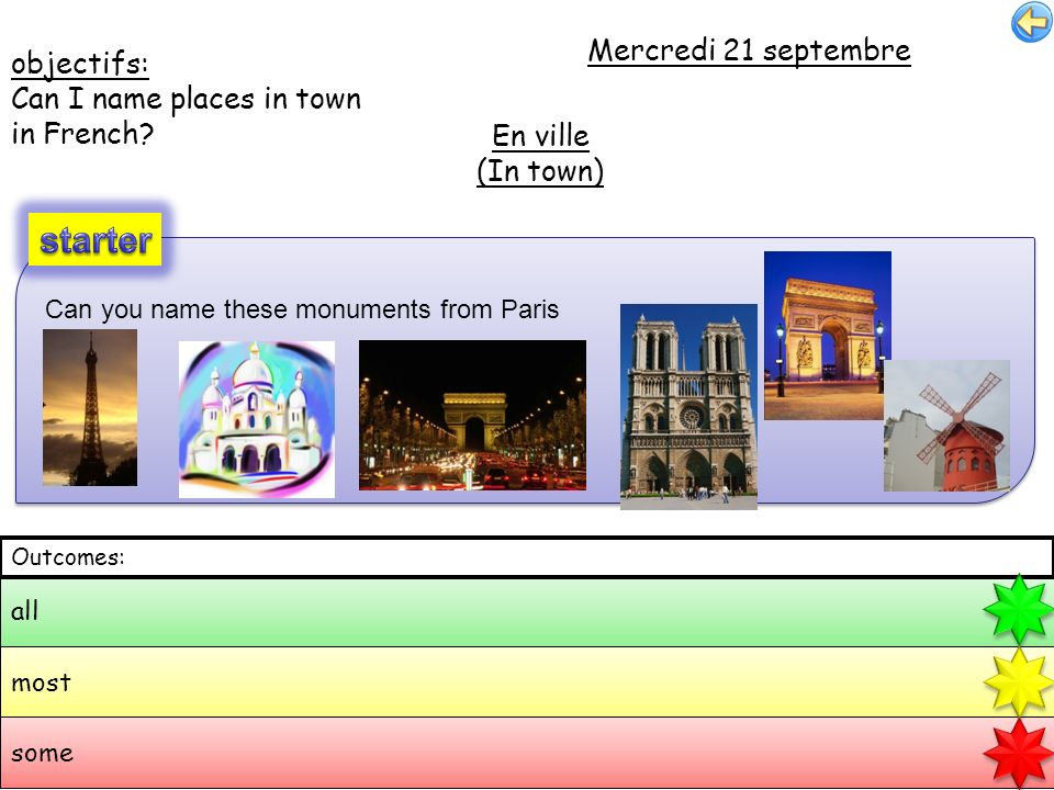 objectifs: Can I name places in town in French? Mercredi 21 septembre En ville (In town) all most some Outcomes: Can you name these monuments from Par