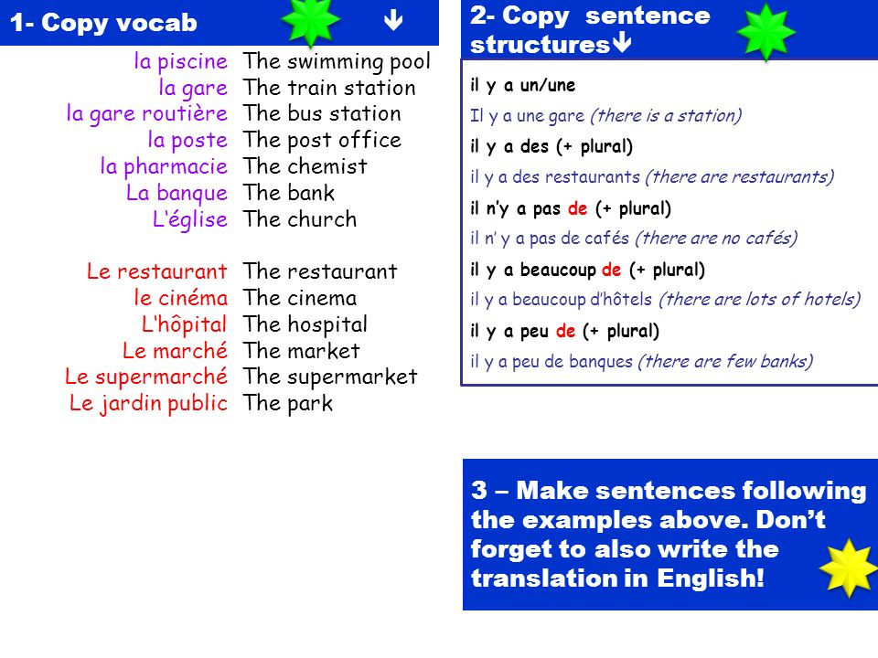 1- Copy vocab 2- Copy sentence structures 3 – Make sentences following the examples above. Dont forget to also write the translation in English! la pi