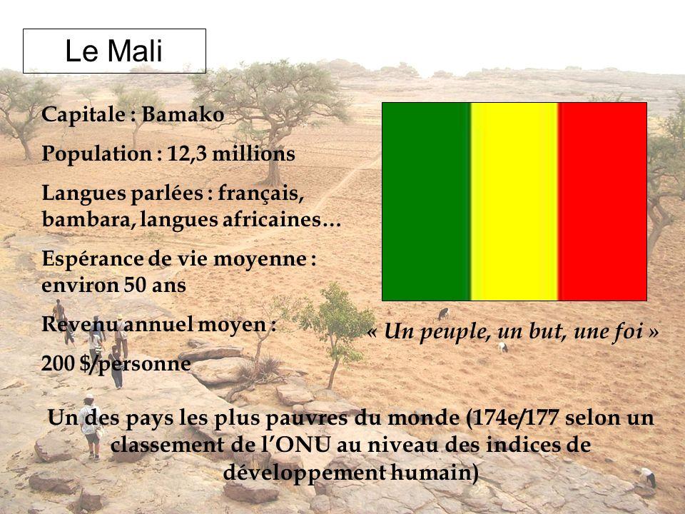 Le Mali « Un peuple, un but, une foi » Capitale : Bamako Population : 12,3 millions Langues parlées : français, bambara, langues africaines… Espérance