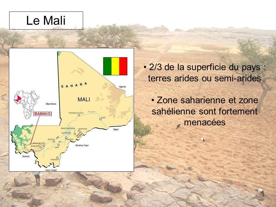 Le Mali 2/3 de la superficie du pays : terres arides ou semi-arides Zone saharienne et zone sahélienne sont fortement menacées