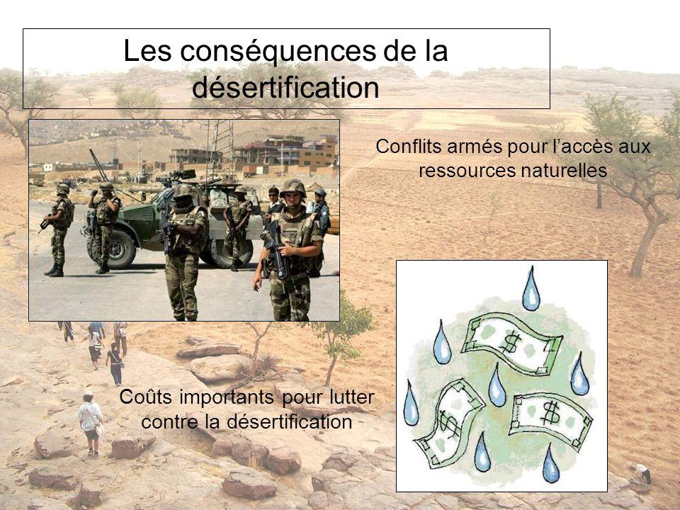 Les conséquences de la désertification Conflits armés pour laccès aux ressources naturelles Coûts importants pour lutter contre la désertification