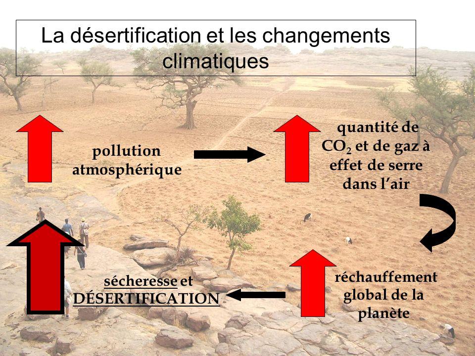 La désertification et les changements climatiques pollution atmosphérique quantité de CO 2 et de gaz à effet de serre dans lair réchauffement global d
