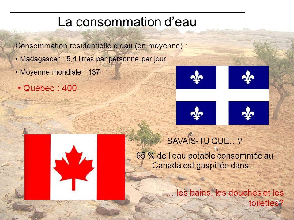 La consommation deau Consommation résidentielle deau (en moyenne) : Madagascar : 5,4 litres par personne par jour Moyenne mondiale : 137 SAVAIS-TU QUE