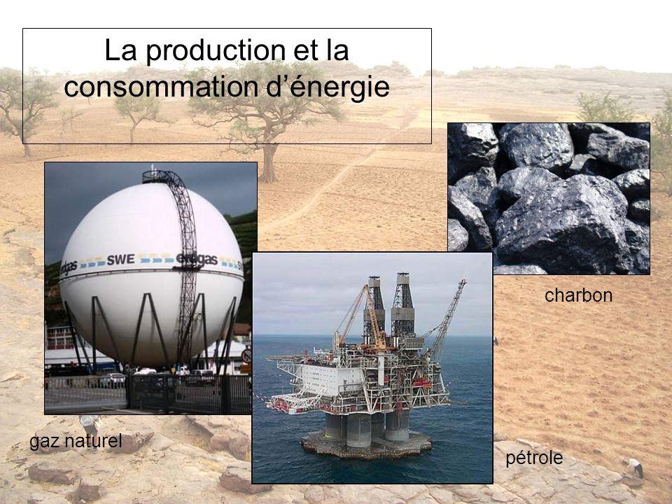 La production et la consommation dénergie gaz naturel pétrole charbon