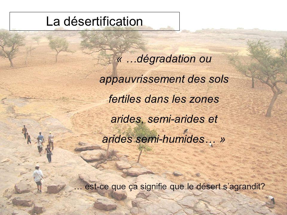 La désertification « …dégradation ou appauvrissement des sols fertiles dans les zones arides, semi-arides et arides semi-humides… » … est-ce que ça si