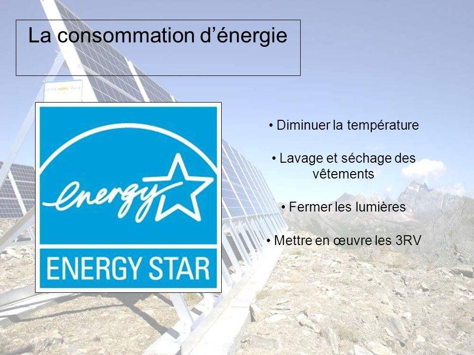 La consommation dénergie Diminuer la température Lavage et séchage des vêtements Fermer les lumières Mettre en œuvre les 3RV
