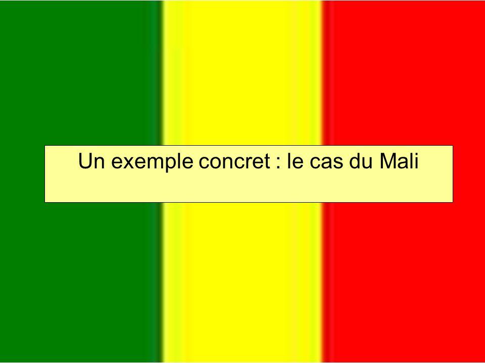 Le Mali « Un peuple, un but, une foi » Capitale : Bamako Population : 12,3 millions Langues parlées : français, bambara, langues africaines… Espérance de vie moyenne : environ 50 ans Revenu annuel moyen : 200 $/personne Un des pays les plus pauvres du monde (174e/177 selon un classement de lONU au niveau des indices de développement humain)