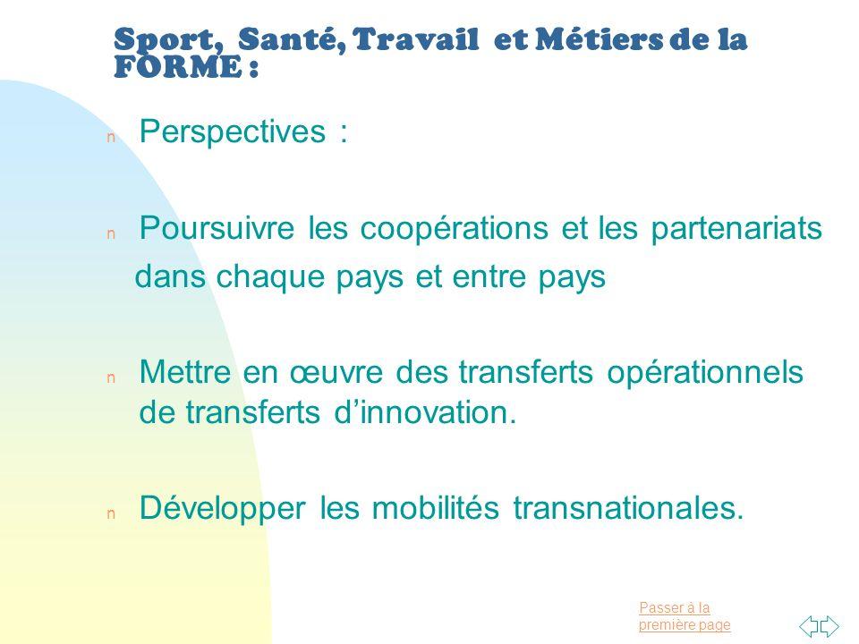 Passer à la première page Sport, Santé, Travail et Métiers de la FORME : n Perspectives : n Poursuivre les coopérations et les partenariats dans chaque pays et entre pays n Mettre en œuvre des transferts opérationnels de transferts dinnovation.