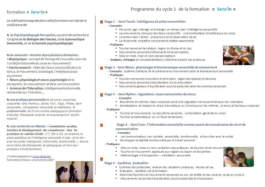 Programme du cycle 1 de la formation « Sensin » Stage 1 - SensTouch : intelligence et action sensorielles - Concepts: Percevoir, agir, interagir et éc