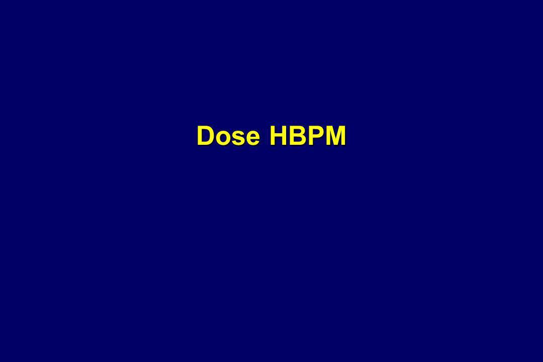Méta-analyse HBPM versus contrôle en orthopédie horaire initiation dose 13 essais ; 1925 patients Initiation pré-opératoire versus post-opératoire pré-op non supérieur post-op Corrélation risque TVP proximale dose HBPM méta-analyseTVP proximale phlébographique < 4000 UI anti-Xa/jRR= 0,60[0,44 - 0,82] > 4000 UI anti-Xa/jRR= 0,14[0,07 - 0,29]p 4000 UI anti-Xa/jRR= 0,14[0,07 - 0,29]p<0,01 méta-régression TVP proximale phlébographique 3000 UI anti-Xa/jRR= 0,69 6000 UI anti-Xa/jRR= 0,19 p= 0,03 Difficulté pour séparer [effet horaire intiation] [effet dose] Zufferey P Thromb Haemost 2003;90:654-661