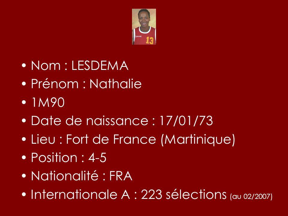 Nom : LESDEMA Prénom : Nathalie 1M90 Date de naissance : 17/01/73 Lieu : Fort de France (Martinique) Position : 4-5 Nationalité : FRA Internationale A
