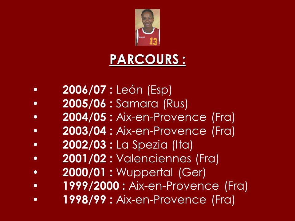 PARCOURS : 2006/07 : León (Esp) 2005/06 : Samara (Rus) 2004/05 : Aix-en-Provence (Fra) 2003/04 : Aix-en-Provence (Fra) 2002/03 : La Spezia (Ita) 2001/