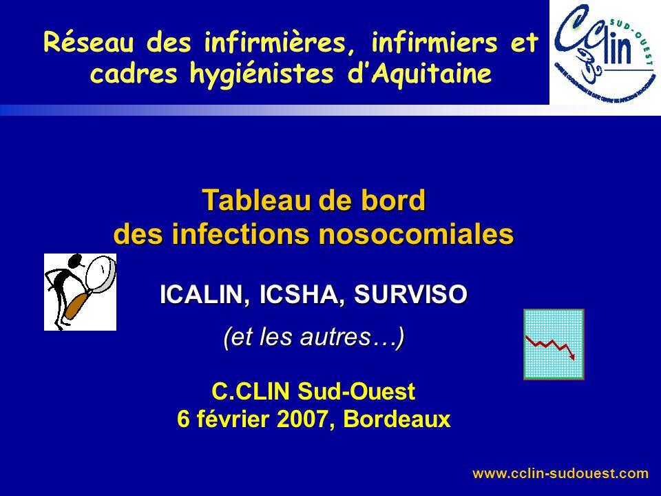 www.cclin-sudouest.com Tableau de bord des infections nosocomiales ICALIN, ICSHA, SURVISO (et les autres…) Tableau de bord des infections nosocomiales