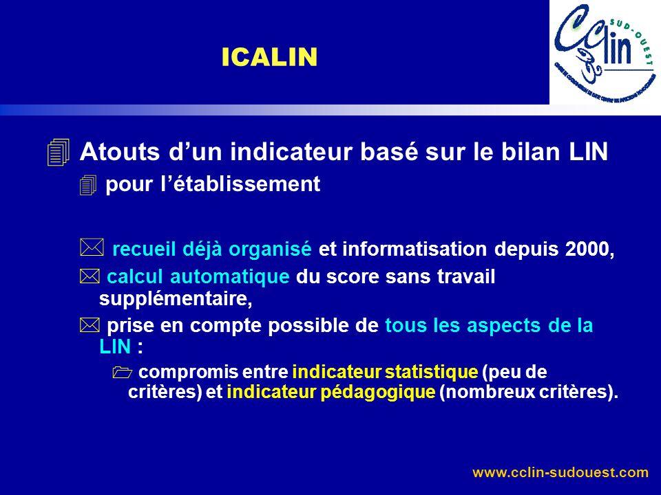 www.cclin-sudouest.com 4 Atouts dun indicateur basé sur le bilan LIN 4 pour létablissement * recueil déjà organisé et informatisation depuis 2000, * c