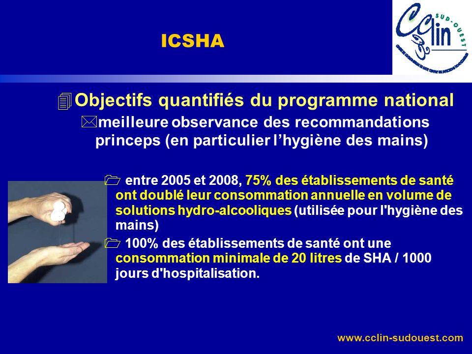 www.cclin-sudouest.com 4Objectifs quantifiés du programme national *meilleure observance des recommandations princeps (en particulier lhygiène des mai