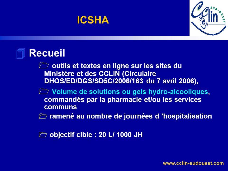 www.cclin-sudouest.com 4 Recueil outils et textes en ligne sur les sites du Ministère et des CCLIN (Circulaire DHOS/ED/DGS/SD5C/2006/163 du 7 avril 20