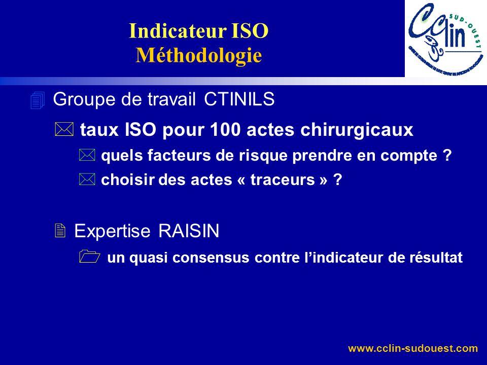 www.cclin-sudouest.com 4 Groupe de travail CTINILS * taux ISO pour 100 actes chirurgicaux * quels facteurs de risque prendre en compte ? * choisir des