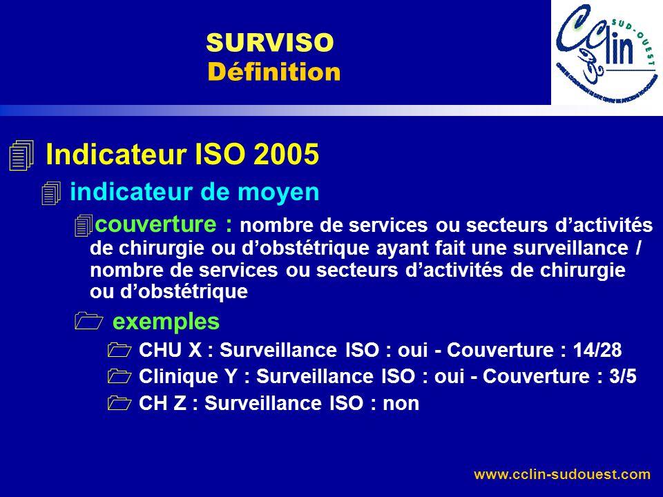 www.cclin-sudouest.com 4 Indicateur ISO 2005 4 indicateur de moyen 4 couverture : nombre de services ou secteurs dactivités de chirurgie ou dobstétriq