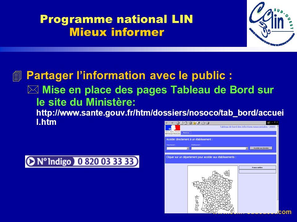 www.cclin-sudouest.com 4 Partager linformation avec le public : * Mise en place des pages Tableau de Bord sur le site du Ministère: http://www.sante.g