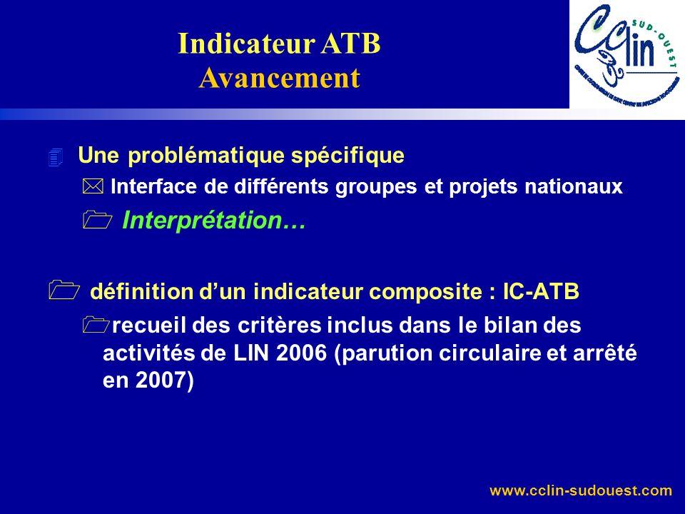 www.cclin-sudouest.com 4 Une problématique spécifique * Interface de différents groupes et projets nationaux 1 Interprétation… 1 définition dun indica