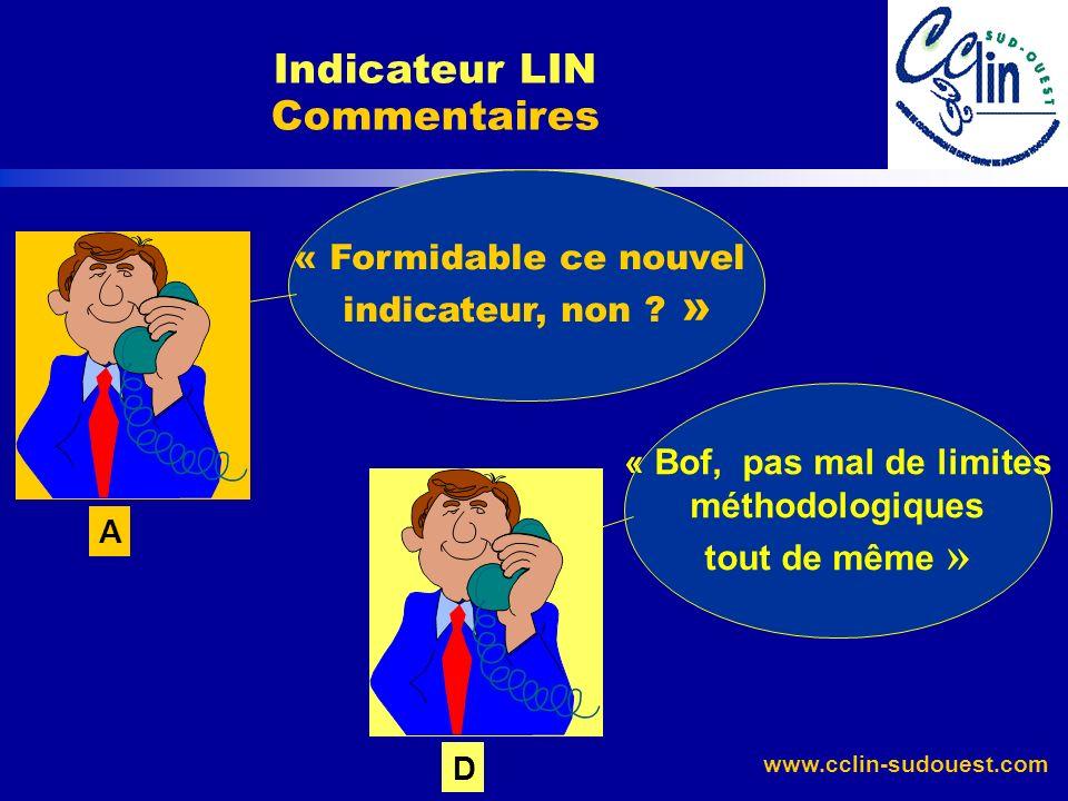 www.cclin-sudouest.com Indicateur LIN Commentaires « Formidable ce nouvel indicateur, non ? » A « Bof, pas mal de limites méthodologiques tout de même