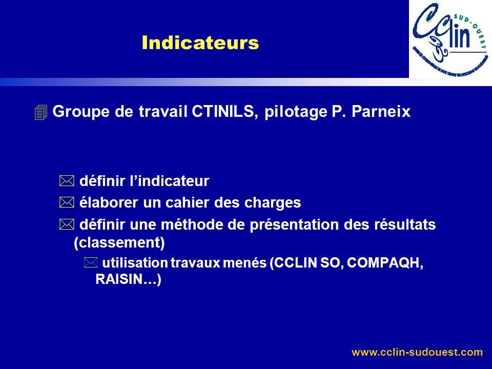 www.cclin-sudouest.com 4Groupe de travail CTINILS, pilotage P. Parneix * définir lindicateur * élaborer un cahier des charges * définir une méthode de
