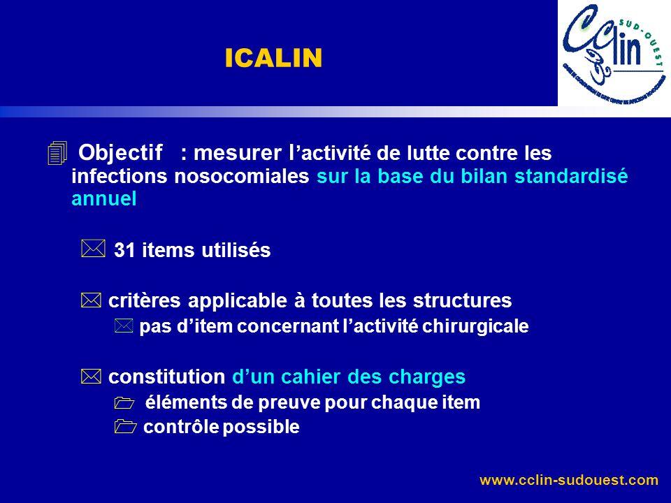 www.cclin-sudouest.com 4 Objectif : mesurer l activité de lutte contre les infections nosocomiales sur la base du bilan standardisé annuel * 31 items