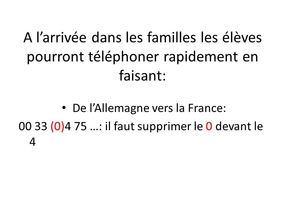 De lAllemagne vers la France: 00 33 (0)4 75 …: il faut supprimer le 0 devant le 4 A larrivée dans les familles les élèves pourront téléphoner rapideme