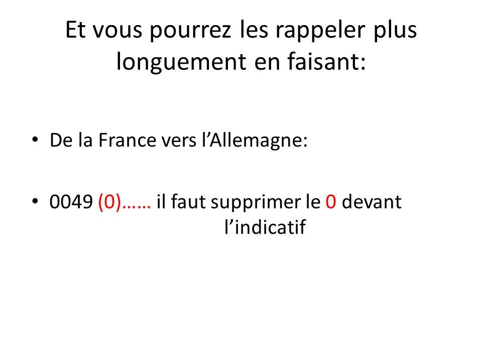 De la France vers lAllemagne: 0049 (0)…… il faut supprimer le 0 devant lindicatif Et vous pourrez les rappeler plus longuement en faisant: