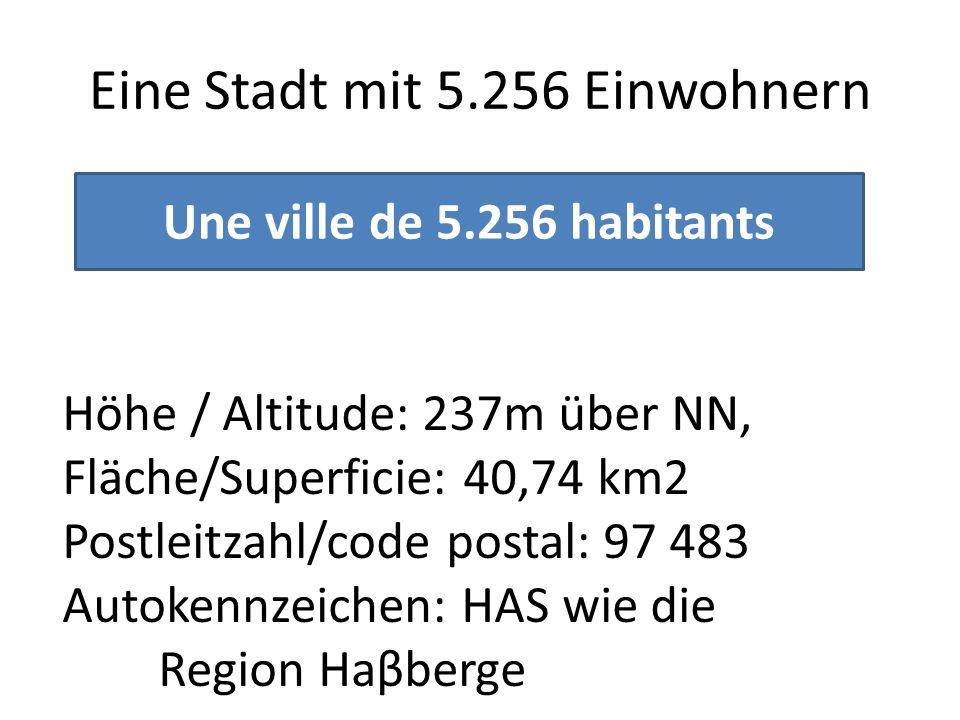 Eine Stadt mit 5.256 Einwohnern Une ville de 5.256 habitants Höhe / Altitude: 237m über NN, Fläche/Superficie: 40,74 km2 Postleitzahl/code postal: 97