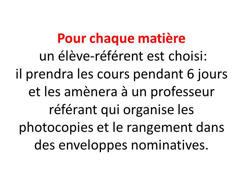 Chaque correspondant français reçoit en descendant du car son enveloppe nominative avec ses cours photocopiés.