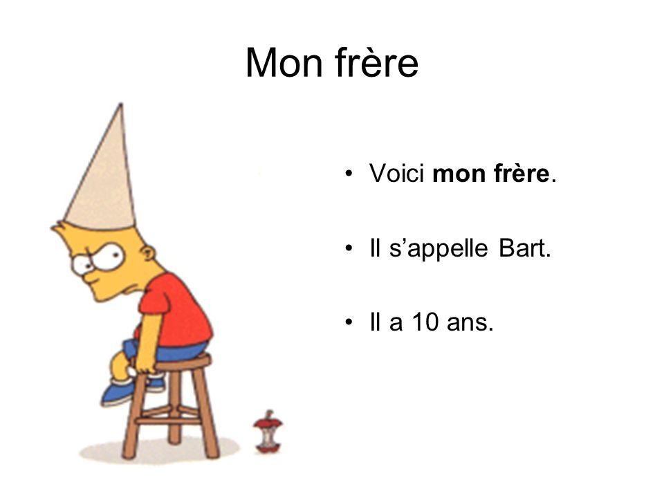 Mon frère Voici mon frère. Il sappelle Bart. Il a 10 ans.