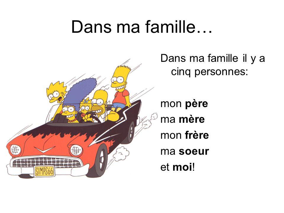 Dans ma famille… Dans ma famille il y a cinq personnes: mon père ma mère mon frère ma soeur et moi!