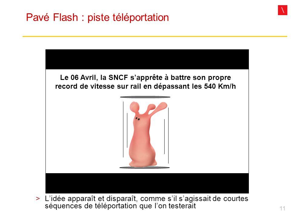 11 Pavé Flash : piste téléportation Le 06 Avril, la SNCF sapprête à battre son propre record de vitesse sur rail en dépassant les 540 Km/h Lidée appar