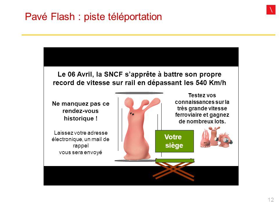 12 Pavé Flash : piste téléportation Le 06 Avril, la SNCF sapprête à battre son propre record de vitesse sur rail en dépassant les 540 Km/h Votre siège