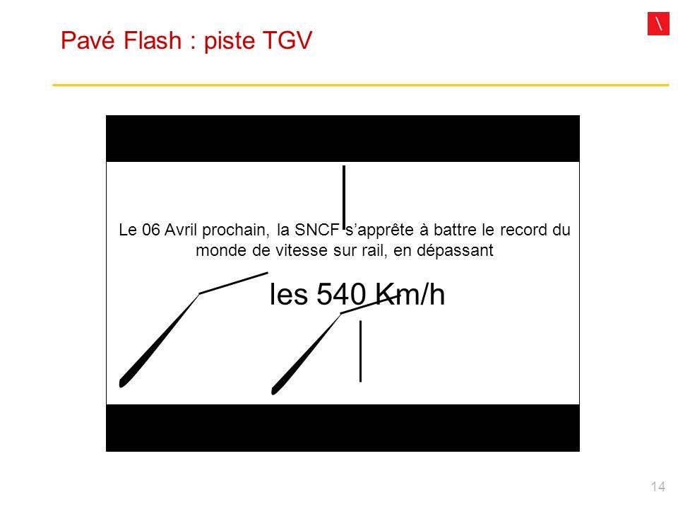 14 Pavé Flash : piste TGV Le 06 Avril prochain, la SNCF sapprête à battre le record du monde de vitesse sur rail, en dépassant les 540 Km/h