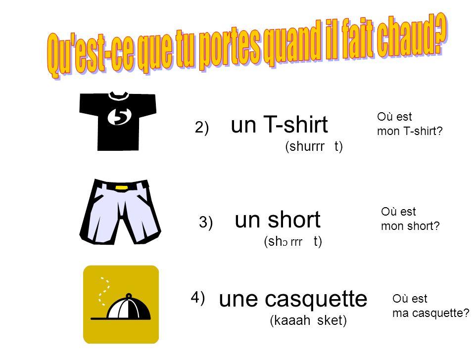 2) 3) un T-shirt (shurrr t) un short (sh ɔ rrr t) une casquette (kaaah sket) 4) Où est mon T-shirt? Où est mon short? Où est ma casquette?